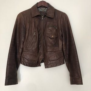 Banana Republic brown leather jacket size S